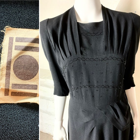40s double eleven beaded crepe cocktail dress. Str