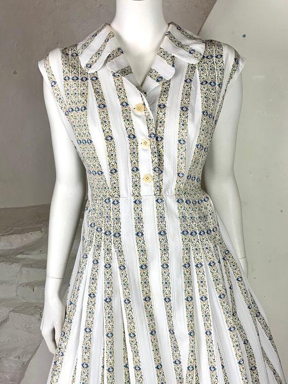 50s stylish woven striped cotton day dress