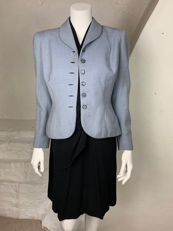 1940s light blue wool jacket - image 3