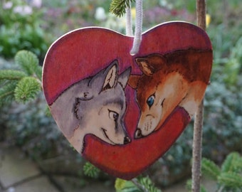 Puppy Love - wooden heart woodburned wolves