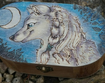 Woodburned wolf werewolf painted wooden box