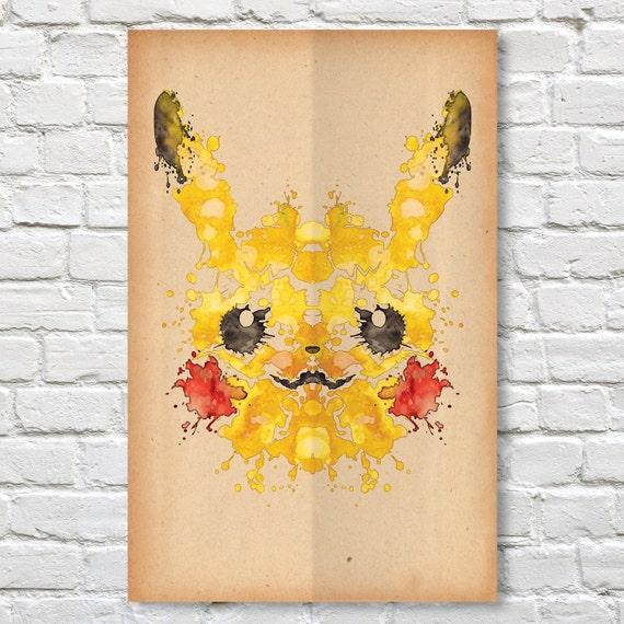 pikachu rorschach poster pokemon 11 x 17 etsy