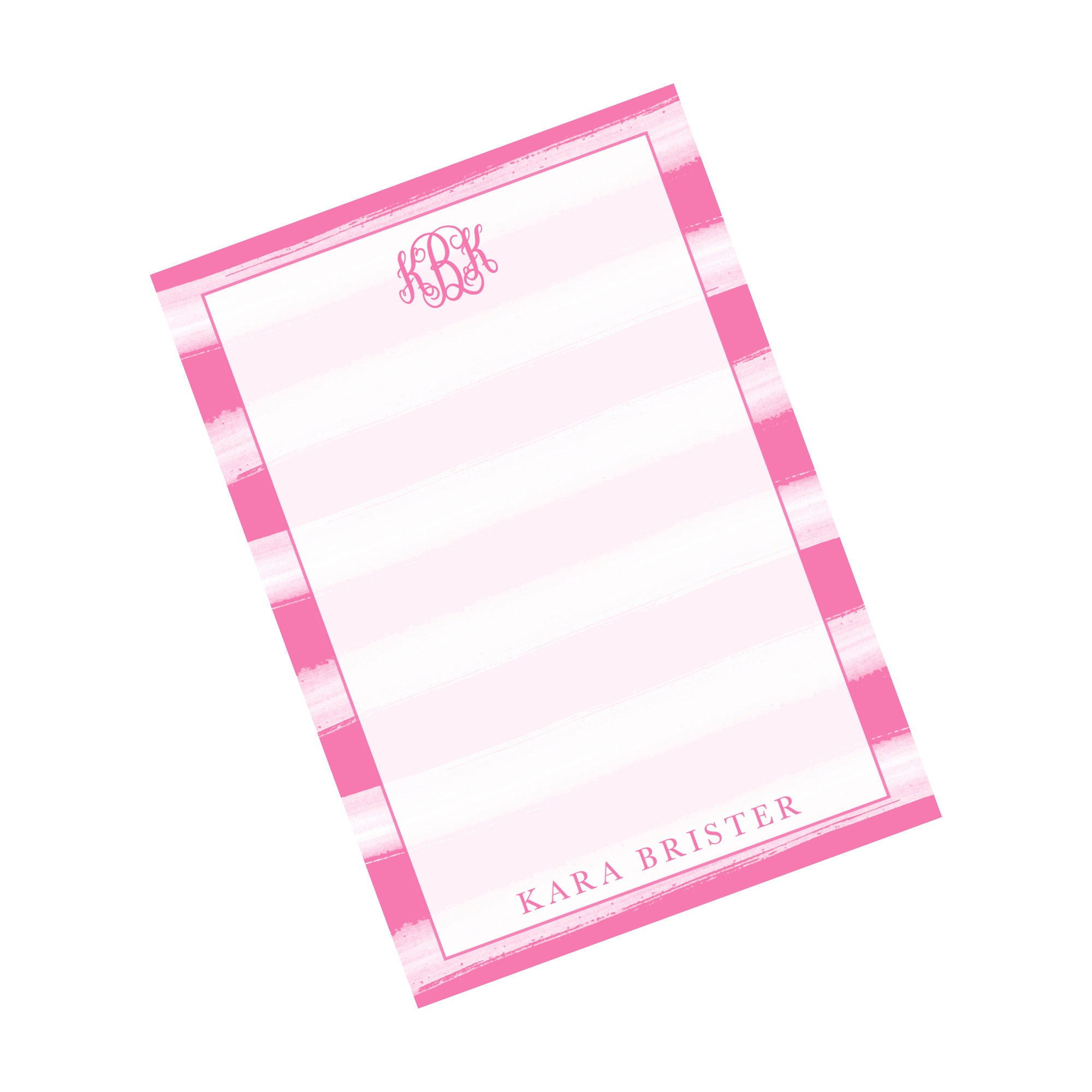 Pink and White Watercolor Monogrammed Notepad Monogram ...