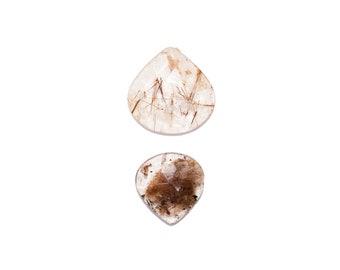 Loose Rutile Quartz Large Freeform Shape Rose Cut Cabochon Set