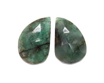 Loose Emerald Natural Cabochon Slice Gemstone Pair