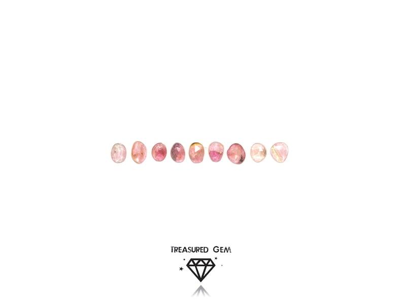 Loose Rose Cut Tourmaline Cabochons Pink Rainbow Colours Freeform Shapes Set