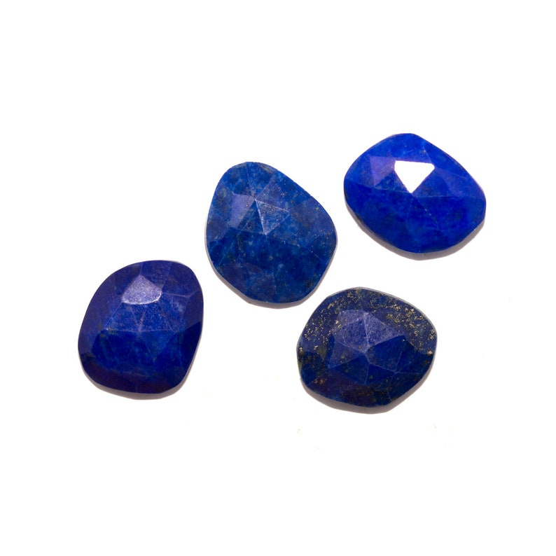 Loose Lapis Lazuli Mixed Blue Cabochon Gemstones Deep Blue Freeform Shapes Natural Lapis Lazuli Slices with Flecks of Golden Pyrite