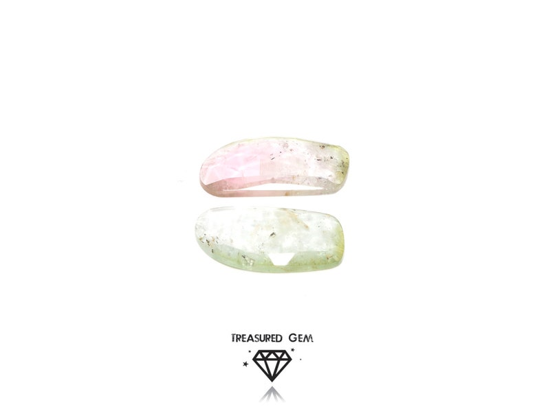 Loose Tourmaline Rose Cut Gemstones in Pastel Watermelon Colours Freeform Shape