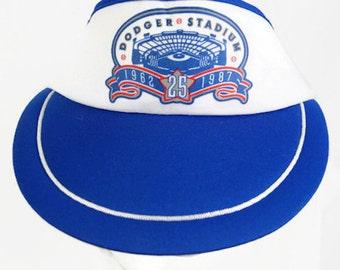 6e23f5d8242 Dodger Stadium Hat Sun Visor 25 Year Anniversary 1987 California Headwear  Adjustable Back Vintage