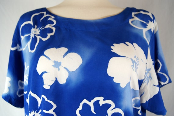 Vintage 90's AsiaCraft Textiles Blue & White Hawa… - image 2