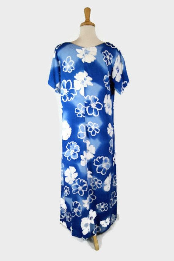 Vintage 90's AsiaCraft Textiles Blue & White Hawa… - image 5