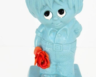Vintage 1971 I'm Falling In Like With You 9033 Made in USA R & W Berries Co's Unique Color Blue Figurine Statue