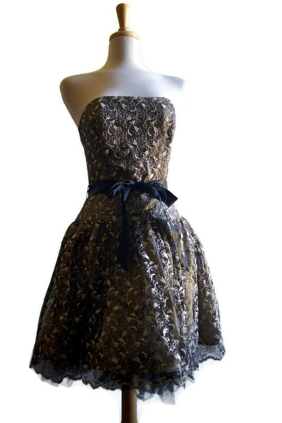 b9fd02d6e9 Vintage Jessica McClintock Gown Strapless Prom Dress 1980s
