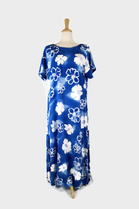 Vintage 90's AsiaCraft Textiles Blue & White Hawai