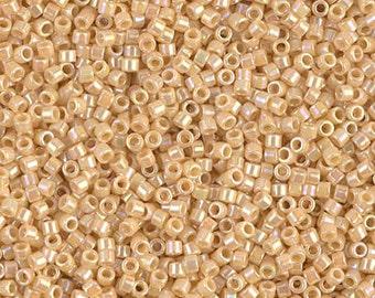 DB00-1571 15 Grams Japanese Miyuki Delica 11//0 Beads Ivory Pear Opaque AB
