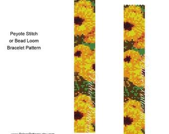 Yellow Flowers Bracelet Pattern - Yellow Flowers Peyote Stitch Bracelet Pattern - Yellow Flowers Bead Loom Bracelet Pattern