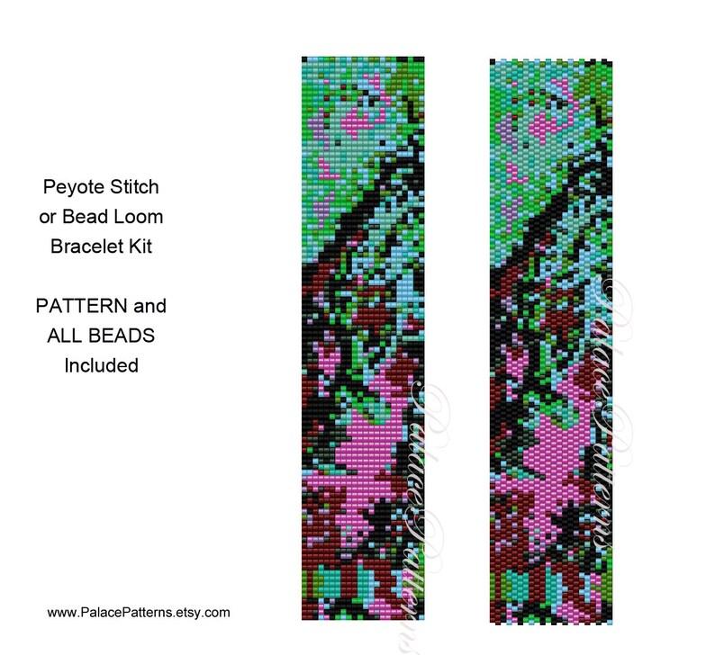 Van Gogh Inspired Bracelet KIT Van Gogh 2 Beading Kit P7 Peyote Stitch and Loom Weaving Bracelet Delica Bead Kit