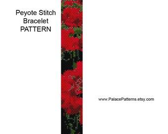 Red Geraniums Peyote Stitch Bracelet Pattern and Bead Loom Bracelet Pattern