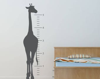 Giraffe Grow Chart Decal, Safari decal, Jungle decal, Play room, realistic giraffe, Classic, Simple, Nursery decals, Baby Decals,