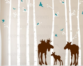 Birch Tree Decal with Moose family, set of 8 trees, Birch with flying birds, birch tree set, Birch forest, Nursery decals, Baby Decals