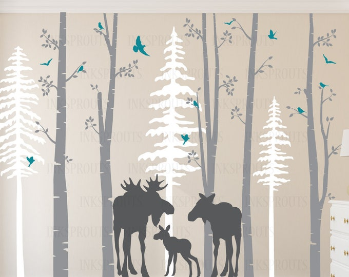 Featured listing image: Birch Decal with Moose Family, 5 Birch decal set with pine trees, birch tree set, Moose baby, Modern Nursery, Nursery decals, Woodland theme