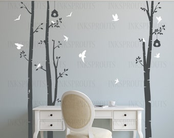 Birch Tree Decal with Birds, 3 tree Birch set, birch tree set, Small Birch set, Birch forest, flying birds decal, Nursery decals,Baby Decals