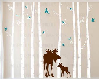 Birch Tree Decal with Moose and Baby, set of 8 , Birch Trees with flying birds, birch tree set, Birch forest, Nursery decals, Baby Decals