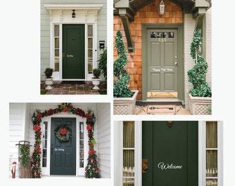 Entry Door Greetings, Front Door Vinyl, All Holidays Front Door Vinyl,  Welcome Decal