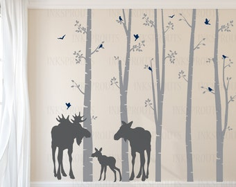 Birch Decal with Moose family, 5 Birch decal set, birch tree set, Moose baby, Modern Nursery, Nursery decals, Baby Decals, Woodland theme