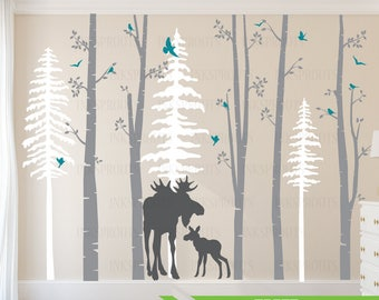 Birch Decal with Moose, 5 Birch decal set with pine trees, birch tree set, Moose baby, Modern Nursery, Nursery decals, Woodland theme