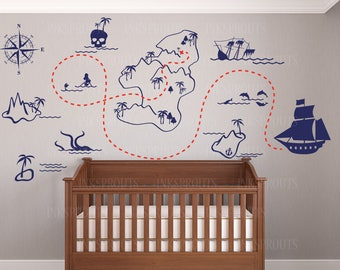 Pirate Map Wall Decal, Pirate Decal, A pirates life for me, Treasure Map, Nautical Theme Nursery, Childrens Decal, Under the sea