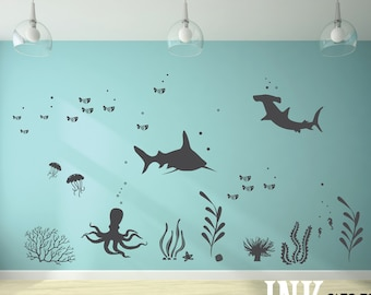 Under the sea room Decal 04, Ocean theme room, Whale decal, nursery decal, wall stickers, fish, octopus, modern room decor