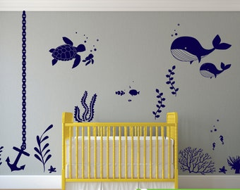 Under the sea room Decal 06, Ocean theme room, Whale decal, nursery decal, wall stickers, fish, octopus, modern room decor
