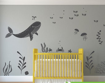 Under the sea room Decal 05, Ocean theme room, Whale decal, nursery decal, wall stickers, fish, octopus, modern room decor