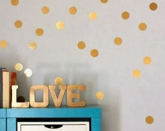 2 inch Metallic Gold Dots, polkadots, gold dots, dot pattern, Modern nursery, shabby chic decal, Nursery decal, confetti