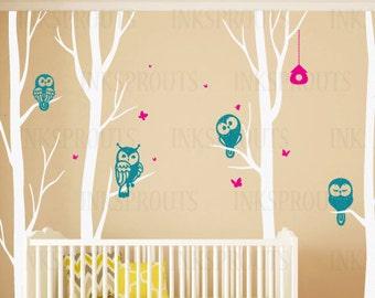 Birch Tree Decal with owls, 4 tree Birch set, Winter birch tree set, Birch forest, flying birds decal, Nursery decals,Baby Decals