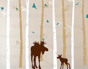 Birch Tree Decal with Moose and Baby in two colors, set of 8 , Birch Trees with flying birds, birch tree set, Birch forest, Nursery decals