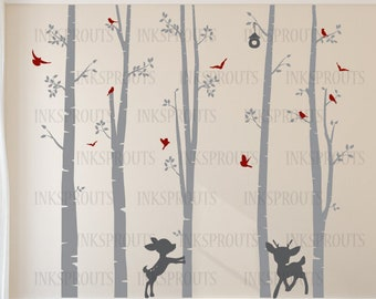 Birch Decal with Birds and fawns ,5 Birch decal, baby deer, birch tree set, Birch forest,Nusery Birch trees, Modern Nursery, Nursery decals