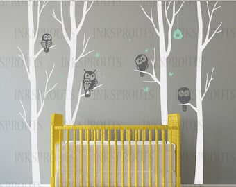 Birch Tree Decal with owls, 4 tree Birch set, Winter birch tree set, Birch forest, flying birds decal, Nursery decals,Baby Decals