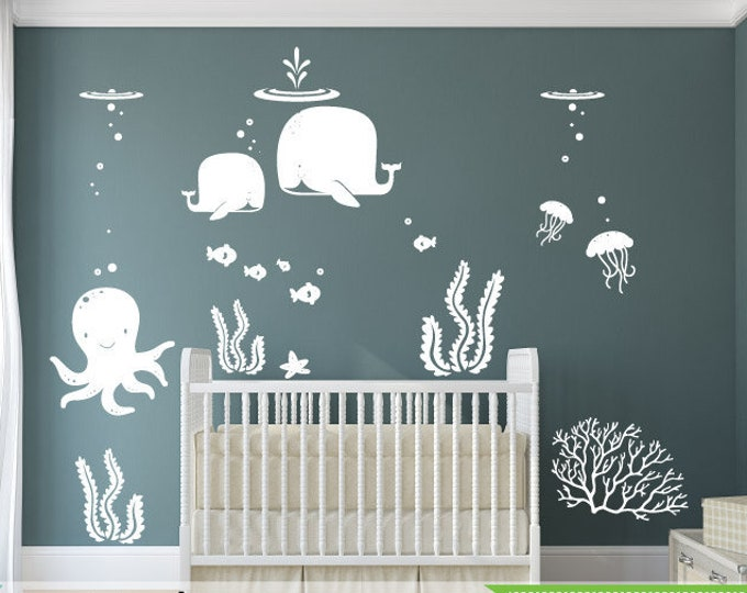 Featured listing image: Under the sea room Decal, Ocean them room, Whale decal, nursery decal, wall stickers, fish, octopus, modern room decor