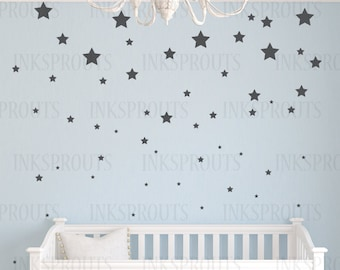 Star Decals, Multiple Size stars, gold stars, star pattern, twinkle little star,  Modern nursery, shabby chic decal, Nursery decal, confetti