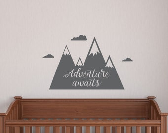 Adventure Awaits Decal, Mountains, boho decal, nursery decal, boys room, girls room, Modern nursery