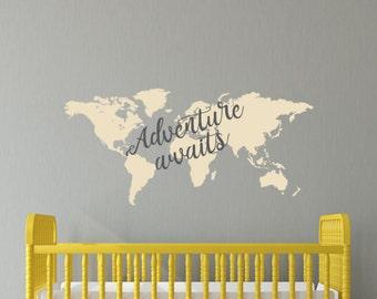 Adventure Awaits Decal, World map Decal, boho decal, nursery decal, boys room, girls room, Modern nursery