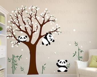 Panda Room Decal, Blossom Tree Decal, Sleeping panda, Cute panda decal, Bamboo decal, Modern Nursery, Nursery decals, Baby Decals