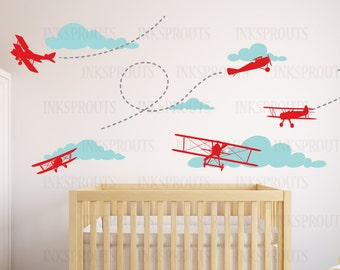 Airplane Decal, Biplane Decal, Large Biplane,Transportation decal, Sky's the limit, Modern Nursery, Nursery decals, Baby Decals