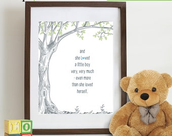 Little Boy quote Print, Love print, Tree with quote, Birch tree, Little boys are, Typography, Love quote, nursery print, Typography Item 121