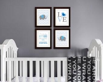 Elephant Print, Nursery Print, Chevron print, Elephant family print, Safari print, Family Quote, love print, Item 045