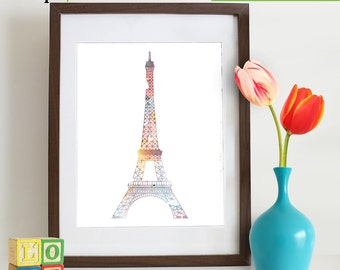 Watercolor Eiffel Tower Print, Watercolor silhouettes, Paris, Shabby Chic, City, Nursery Print, Item  WC019A