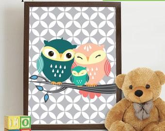 Owl Print, Owl always love you, Owl art, owls, Owl Nursery, Owl family, Nursery Print, Item 032