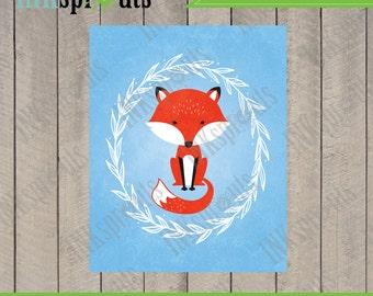 INSTANT DOWNLOAD, Cute fox in laurel, woodland fox, Fox print, forest friends, forest animals, nursery print, Item 075D